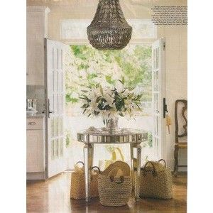Round Entryway Table Ideas | Entrances/foyers   Chandelier Foyer Mirrored Round  Table French Doors