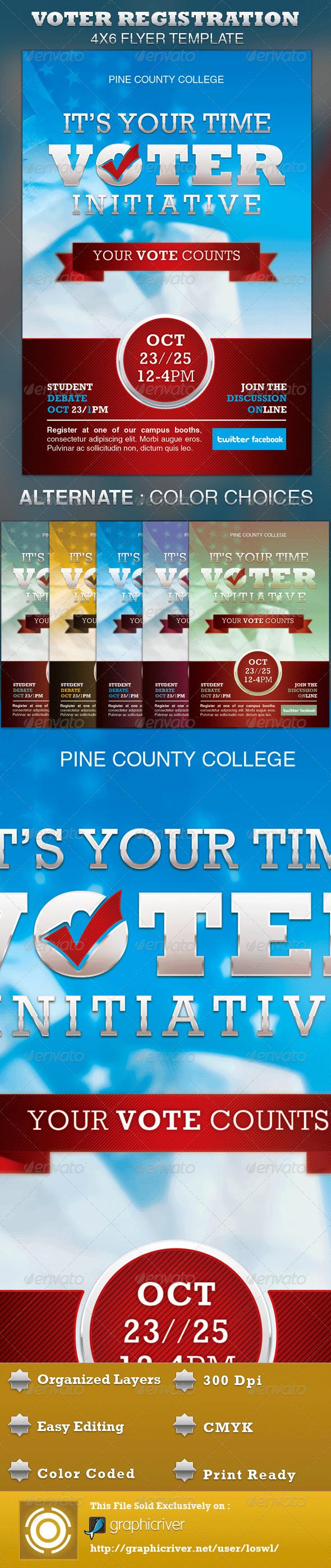 Voter Registration Drive Flyer Template  Voter Registration