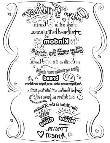 Lords Prayer Coloring Page | Gambar