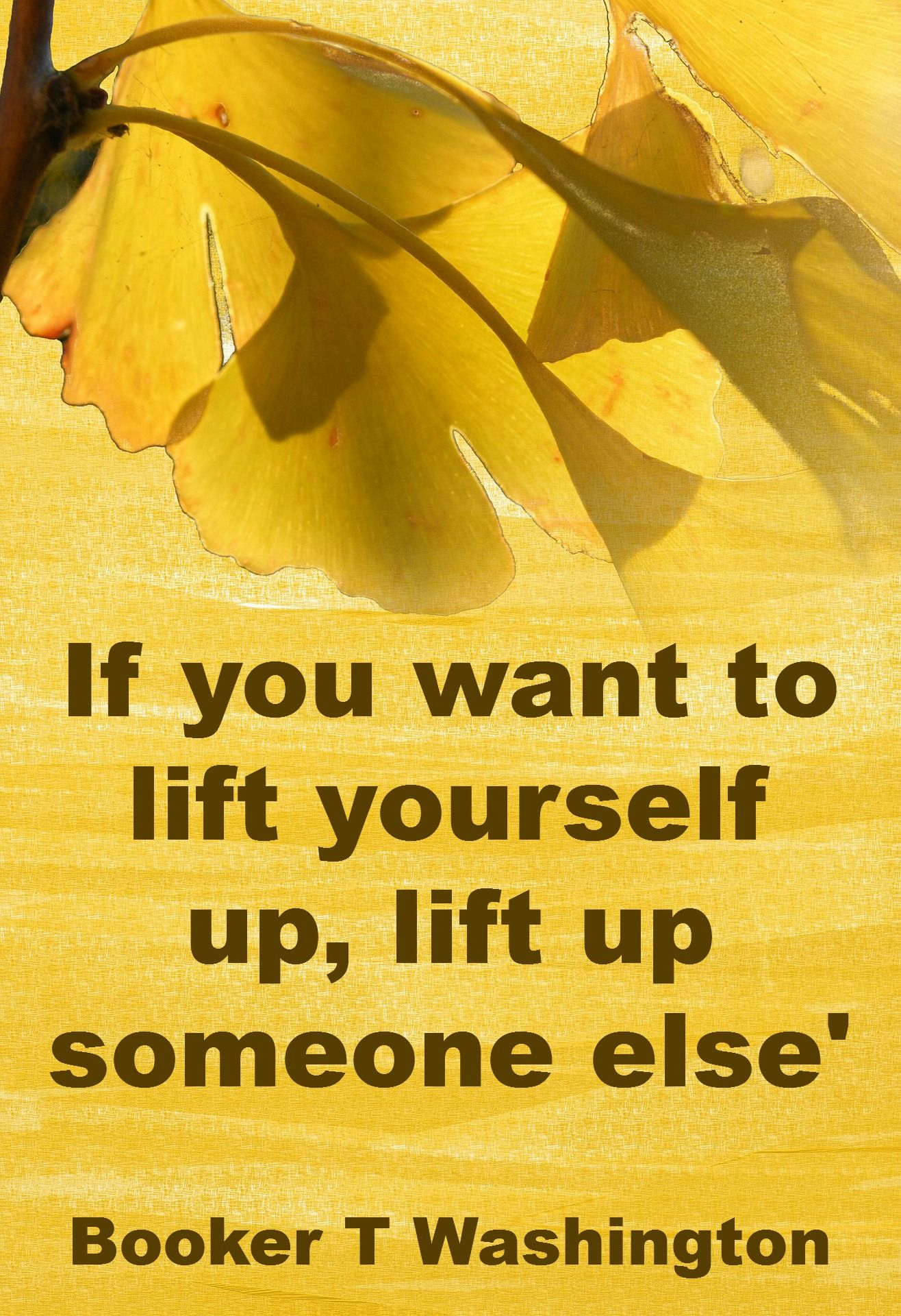If you want to lift yourself up lift up someone else