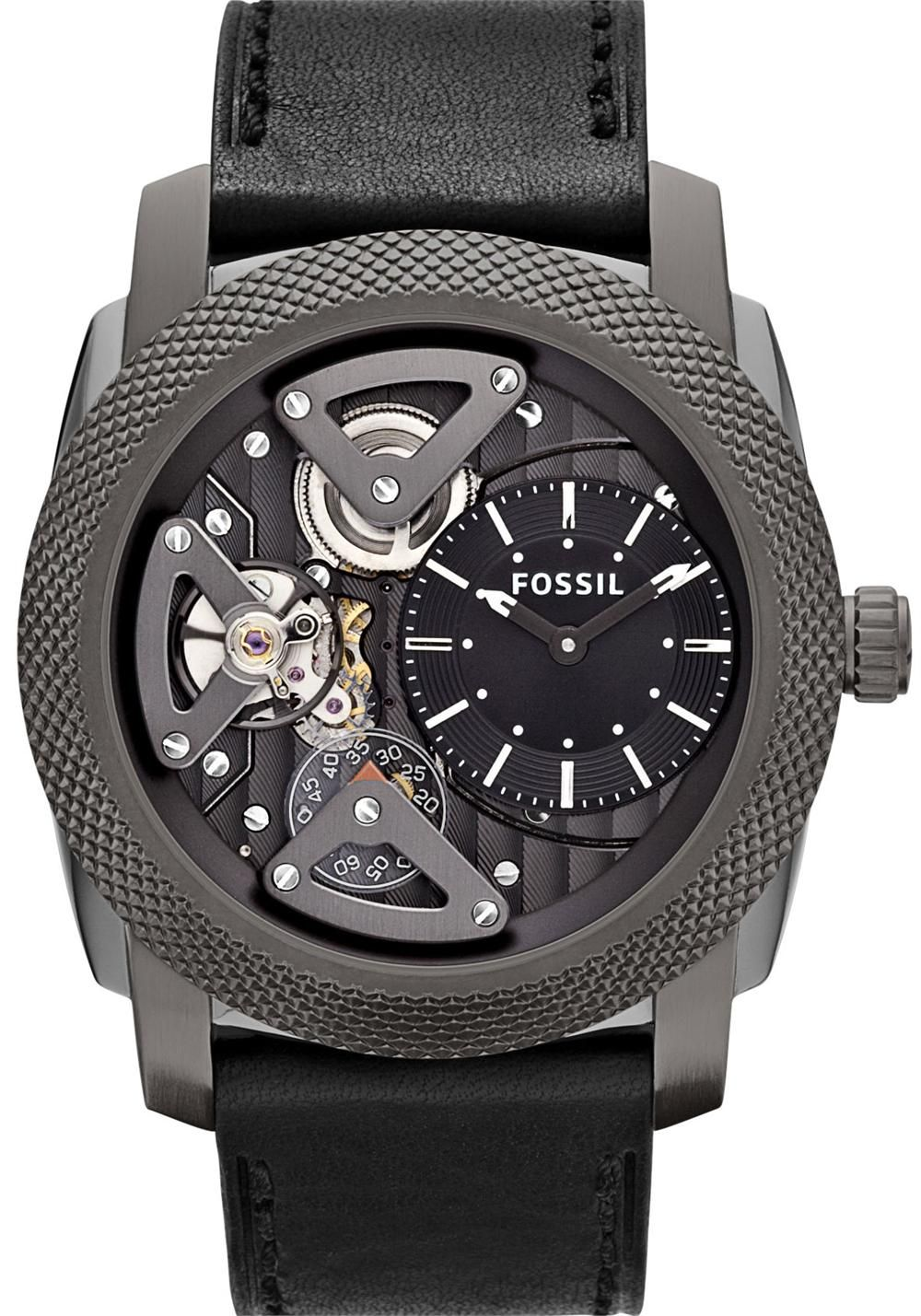 Machine Twist Stainless Steel Leather Grey Our Industrial Inspired Machine Watch Gets A Fossil Watches For Men Skeleton Watches Mens Watches Leather