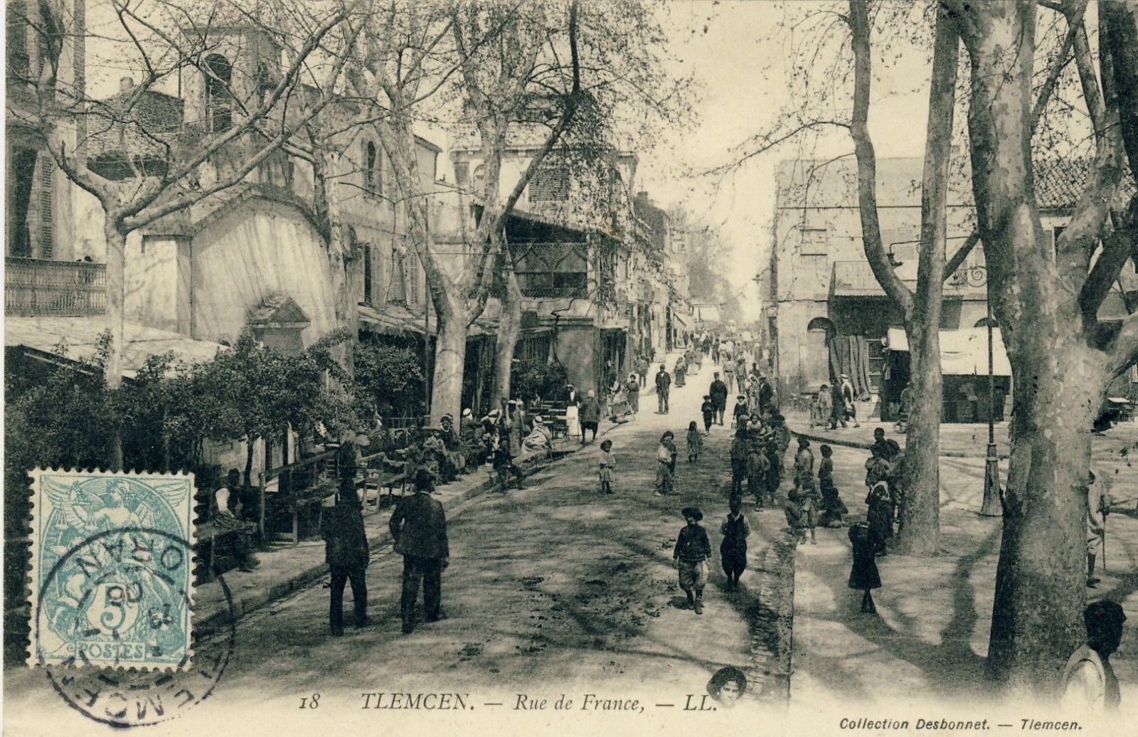 Tlemcen rue de france 1906 alg rie ancienne pinterest for Plan tlemcen