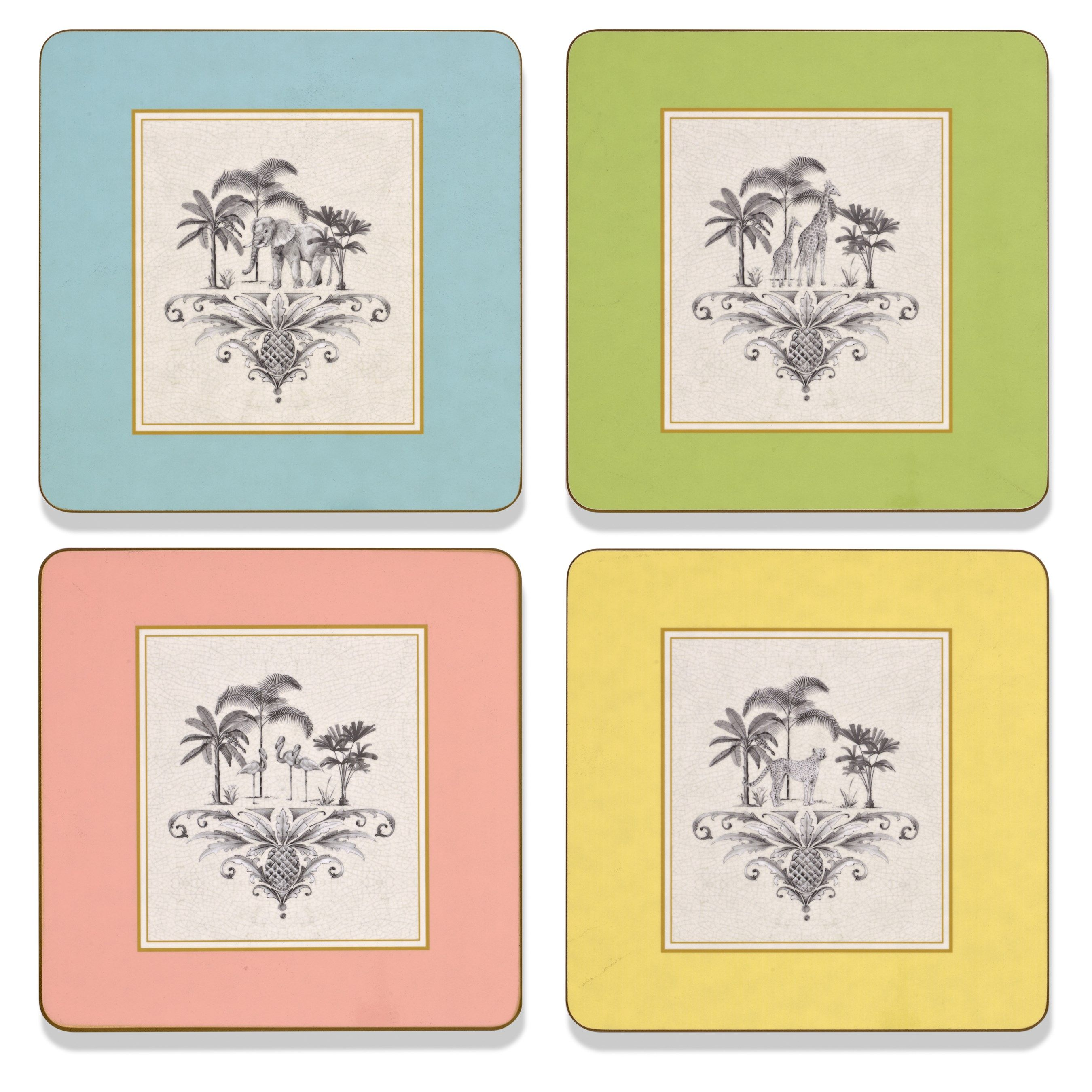 Harlequin Square Coasters Placemats Placemats Coasters Table Accents Tabletop Scullyandscully Com Placemats African Animals Hand Sketch