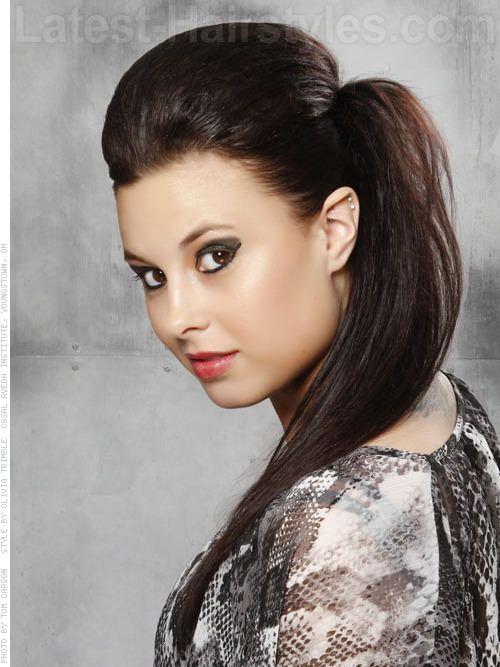 Sensational Long Black Edgy High Volume Ponytail Look For Prom Hair Hairstyles For Women Draintrainus