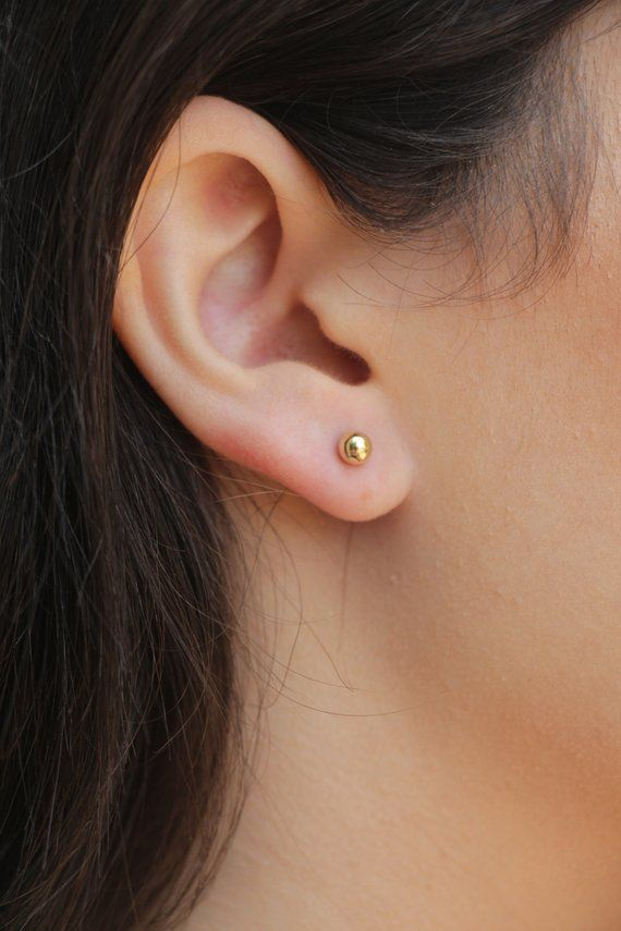 1100a8506 Gold Studs Earrings, 14k Gold Filled Studs, Dot post Earrings, Tiny Studs,  4mm Dot Studs, Simple sm