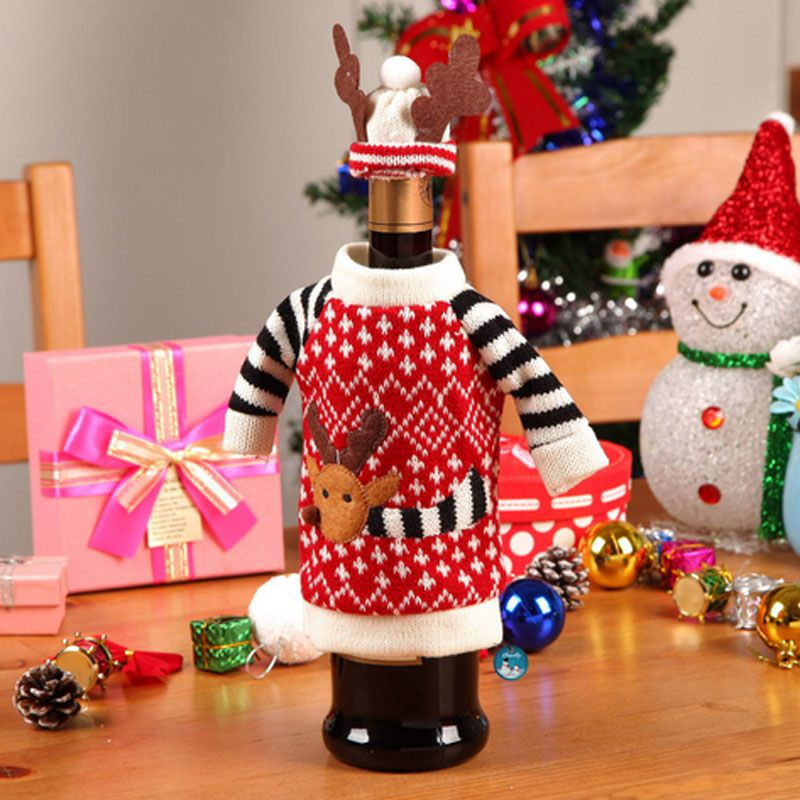 2 Pcs 20-50CM Cute Sweater Red Wine Bottle Cover Bags Santa Claus - christmas decors