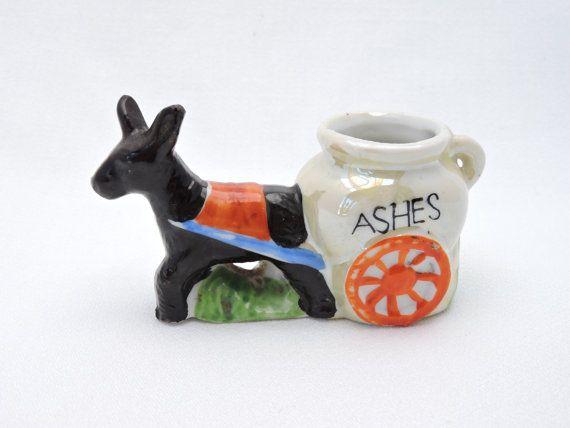 Vintage Ceramic Donkey Ashes Cart - Novelty Ashtray