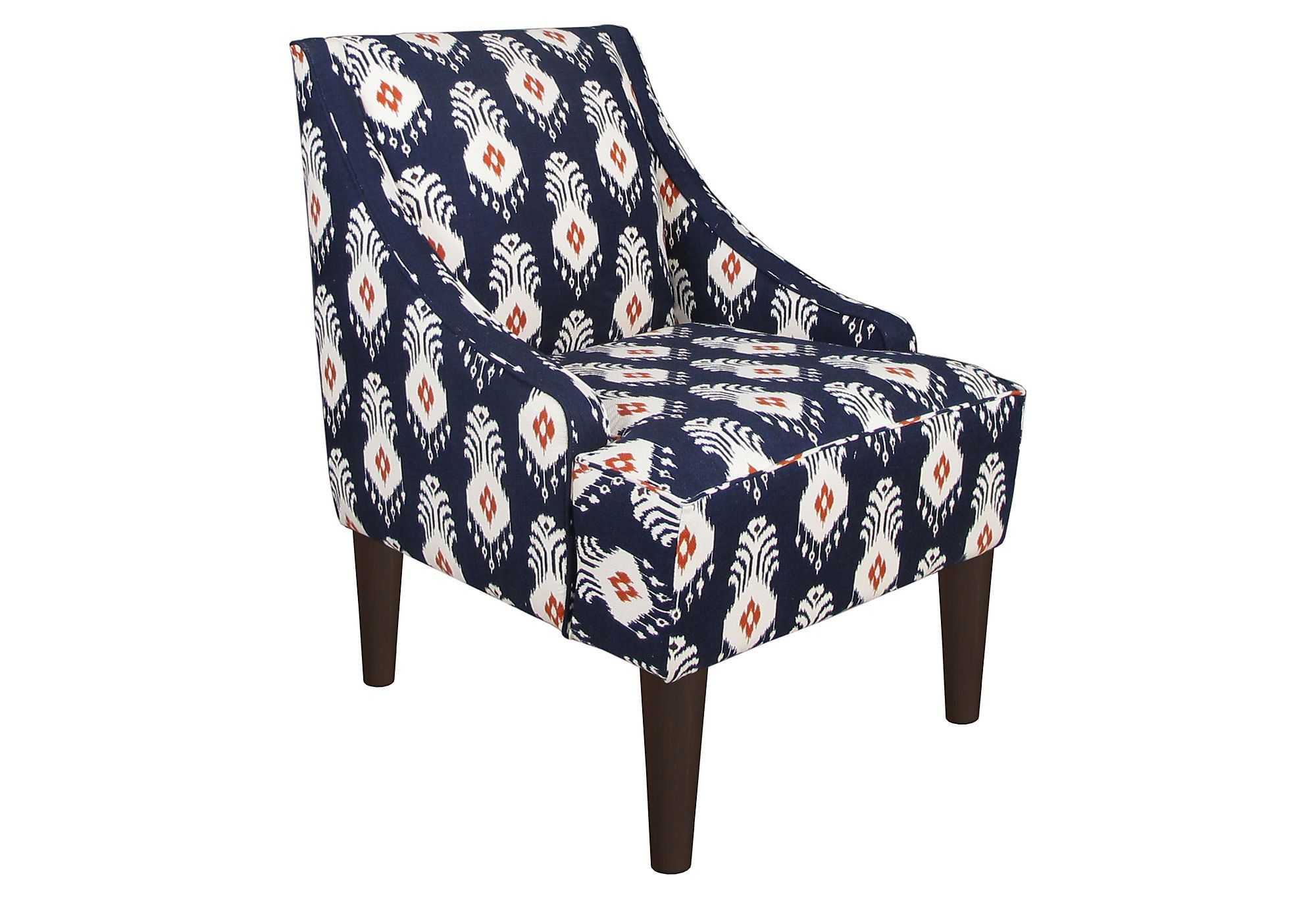 Navy Blue And Orange Ikat Chair Possibly For The Foyer