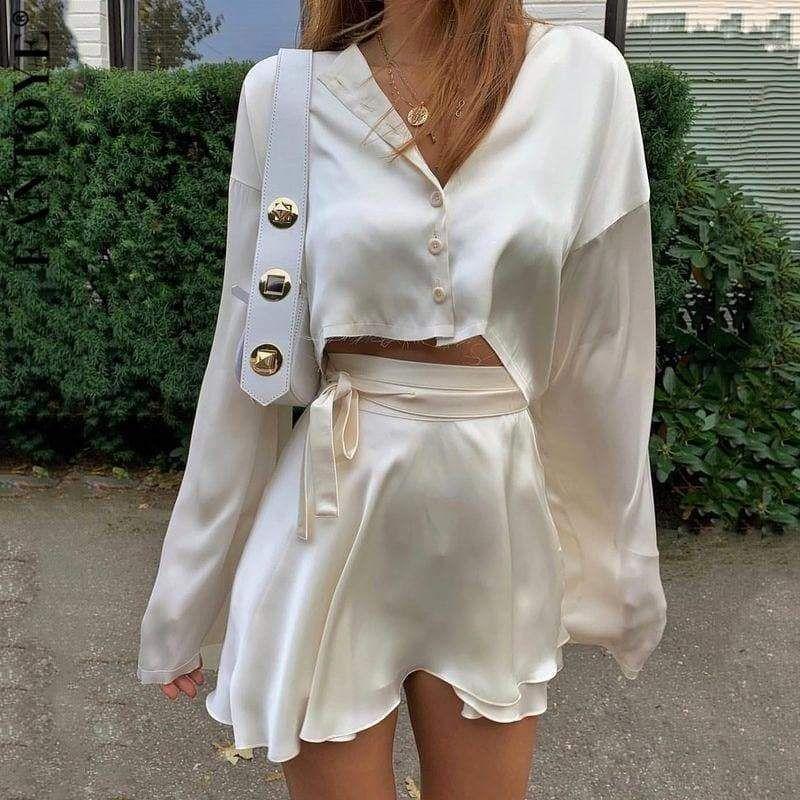 Casual Satin Two Piece Dress Set - White Top / M /