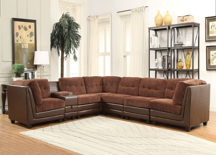 Acme 52230 7 Pc Vlord Collection Tow Tone Brown Chenille And Vinyl Modular Sectional Sofa Modular Sectional Sofa Sectional Sofa Acme Furniture