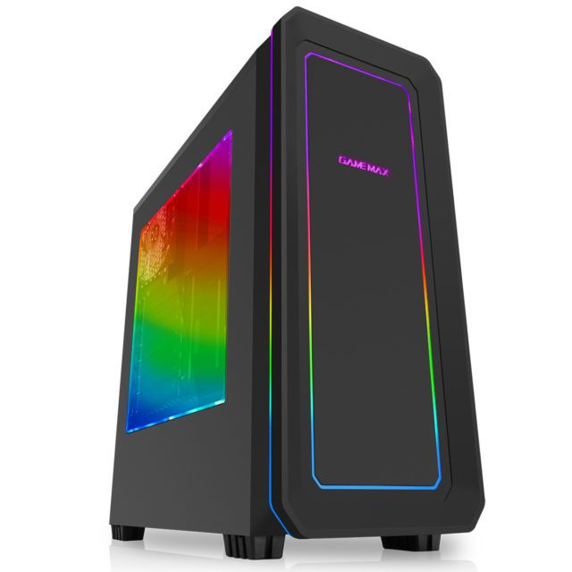 Game Max Vegas Atx Midi Tower 7 Colour Rgb Led Facia Gaming Pc
