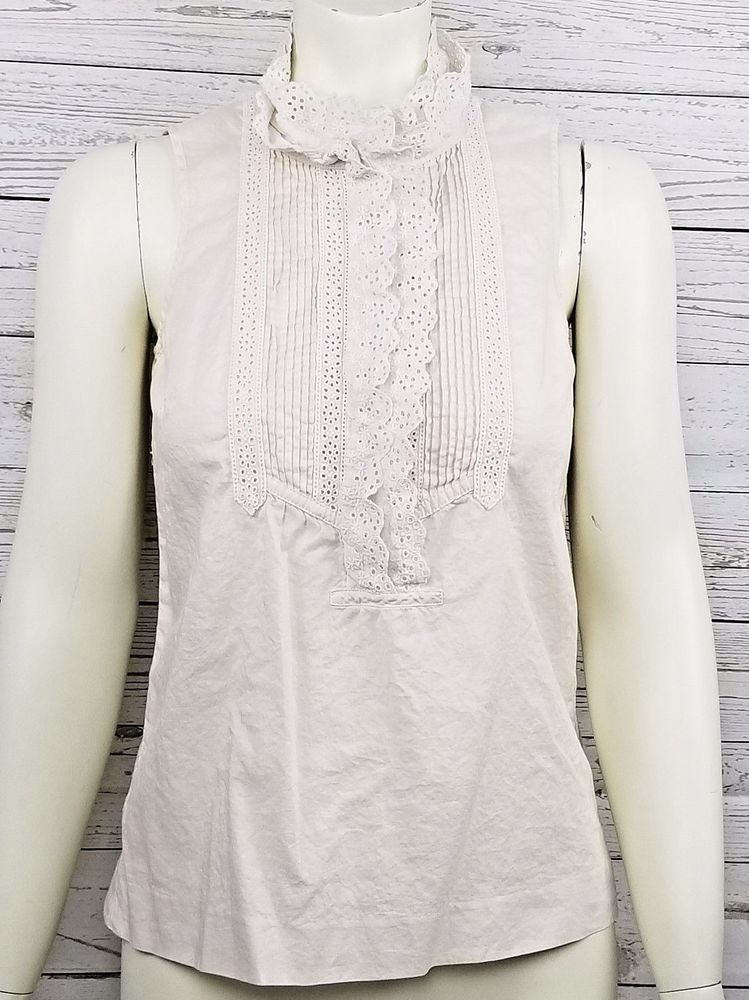 03932ab32f5bf J Crew Beige Sleeveless Blouse Sz 0 Pintuck Eyelet Ruffle Collar Button  Front  JCREW  Blouse  Casual