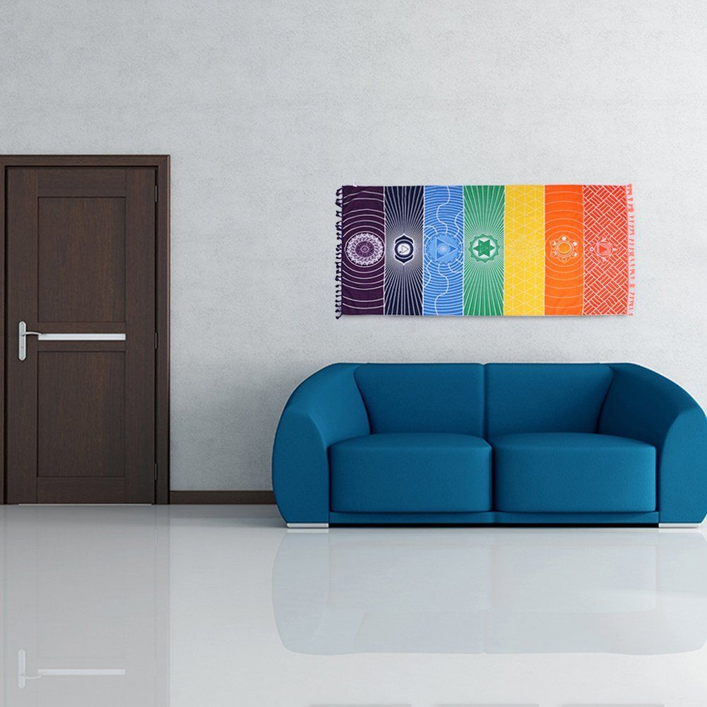 Yoga Mat Wall Hanging Rainbow Colorful Tapestry, Cotone