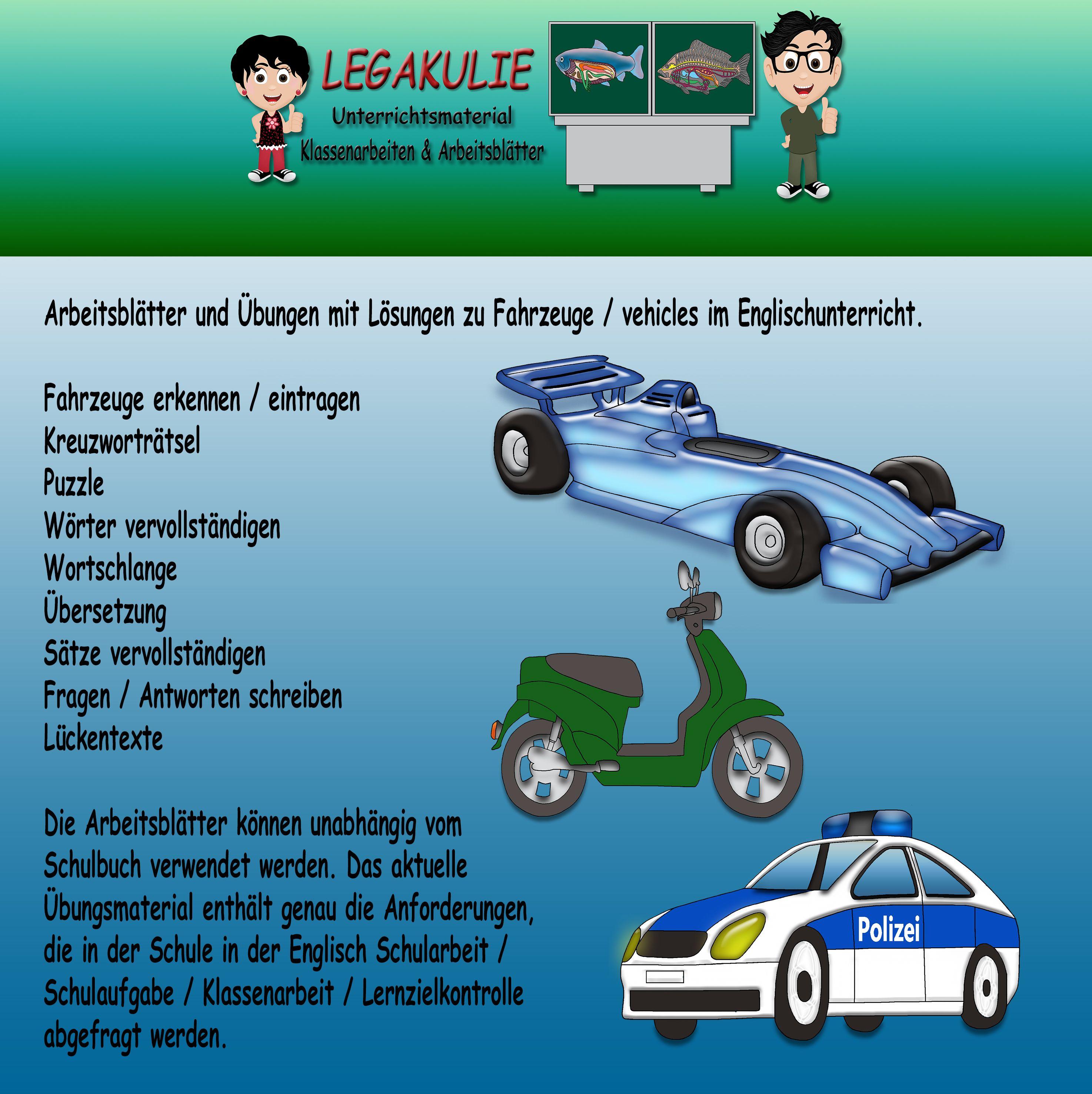 Vehicles / Fahrzeuge | 5.Klasse Englisch Arbeitsblatt Klassenarbeit ...