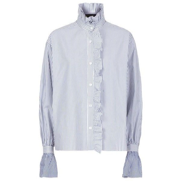 67a217bcf6d22e Burberry Runway Ruffled High Neck Stripe Shirt ( 550) ❤ liked on Polyvore  featuring tops