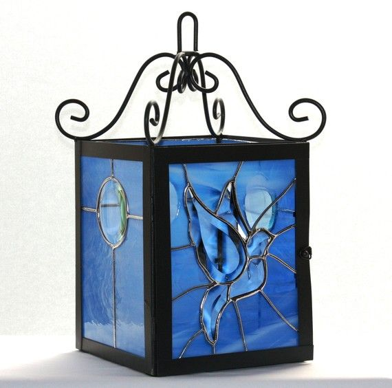Beveled Dove Wrought Iron Lantern with Stained Glass