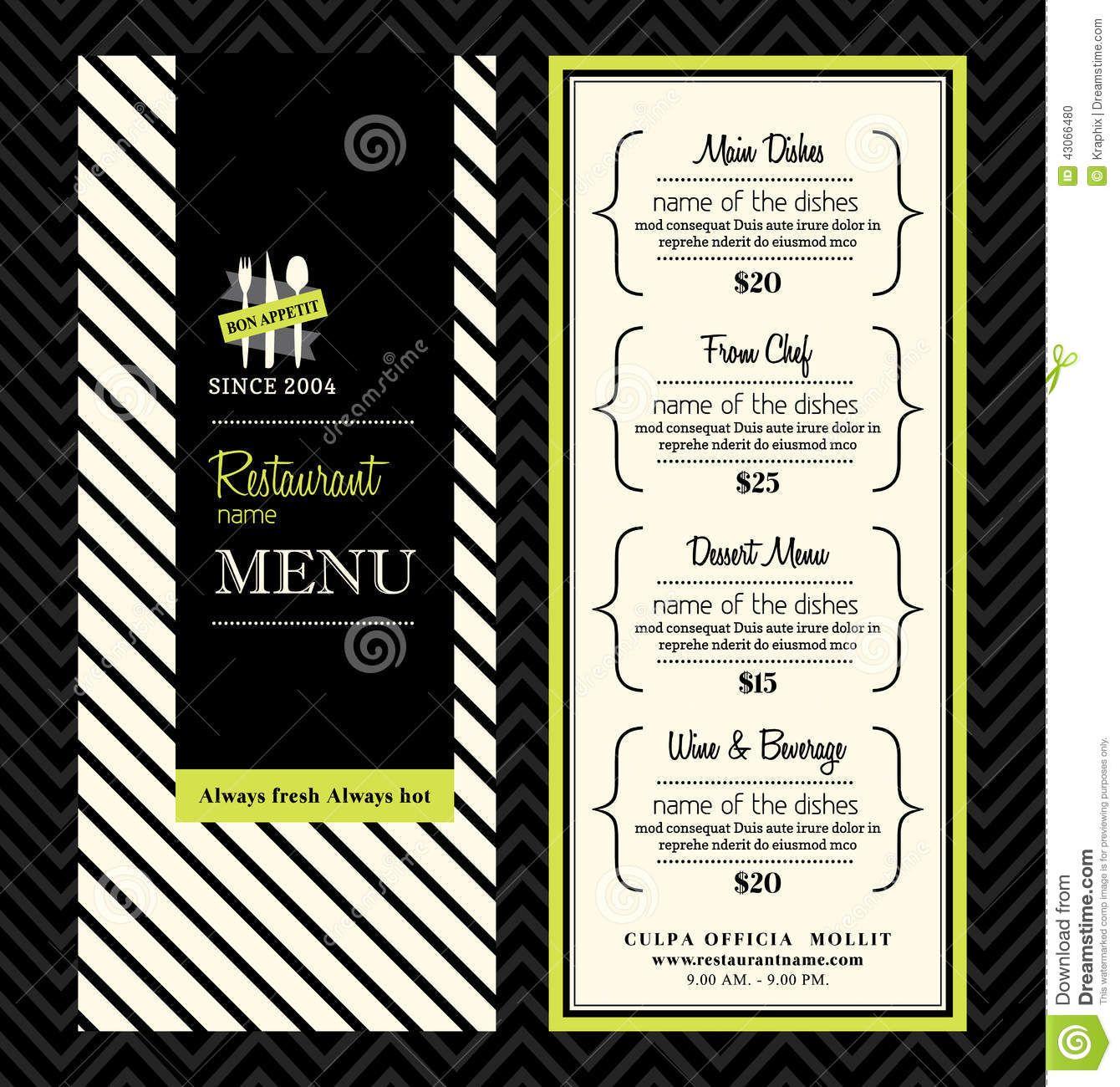 Modern Restaurant Menu Design Template Layout Stock Vector  Image