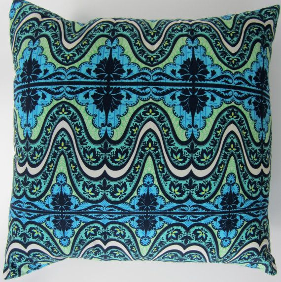 20x20 Stunning Turquoise Print Pillow Cover By