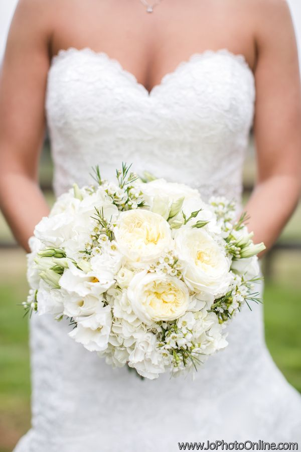 All White Bride Bouquet Ivory And White Flowers Rustic Farm