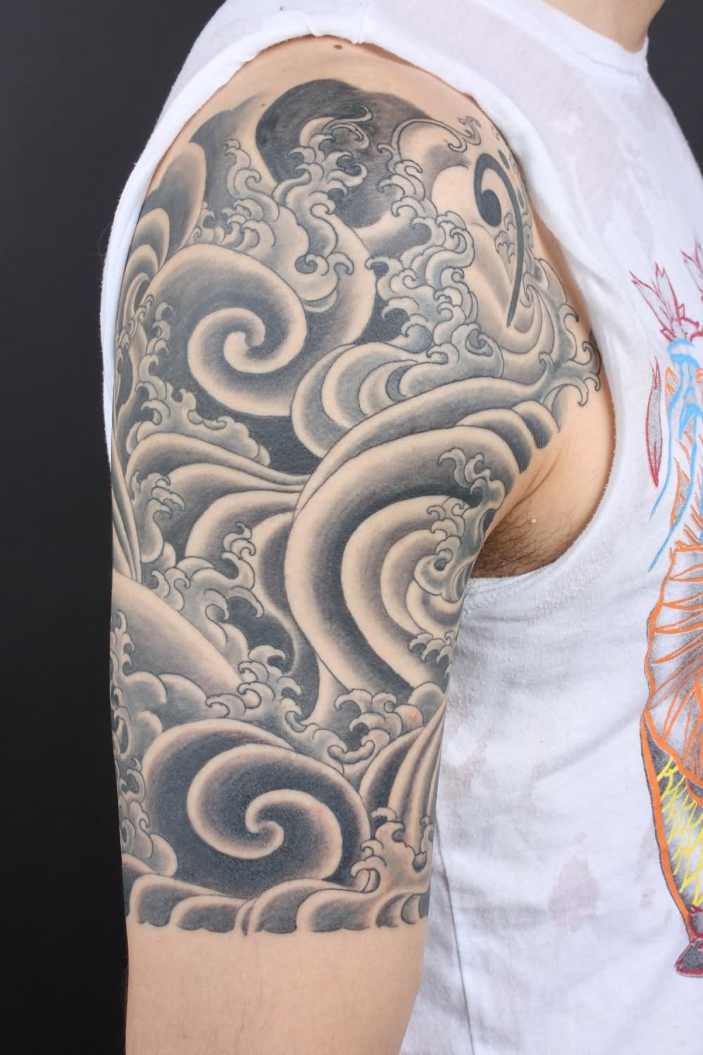 21d8697c9 Black And Grey Japanese Cloud Tattoo On Right Half Sleeve | Tiger ...
