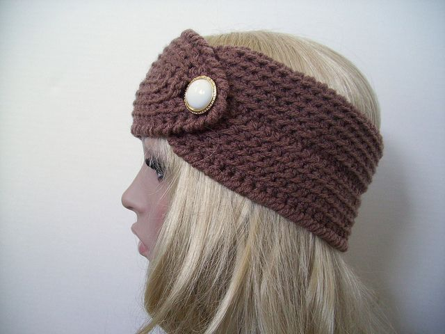 Free Crochet Pattern Easy And Pretty Headband With Button