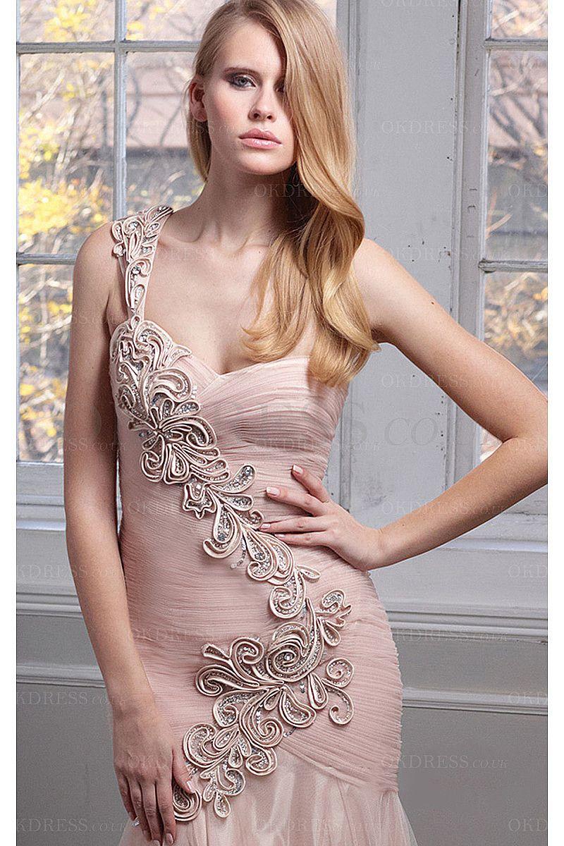 Sheath Sleeveless Floor-length One Shoulder Zipper Evening Dresses - by OKDress…