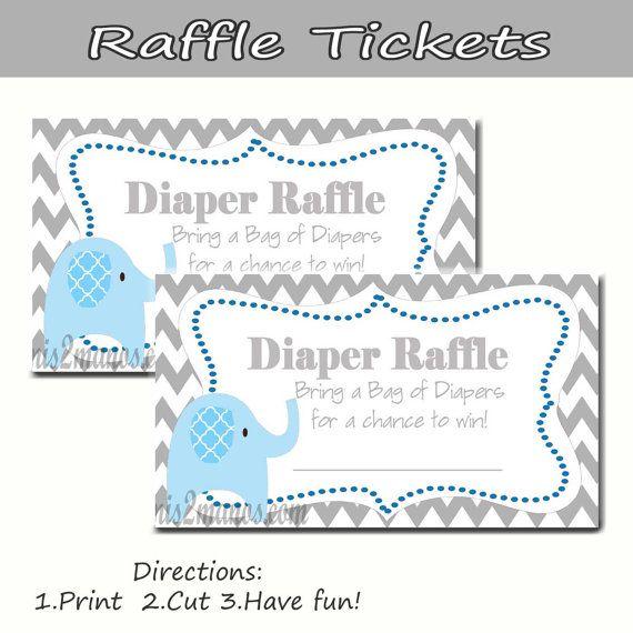 Chevron Elephant - Diaper Raffle - Baby Shower - Set of 10 Blue