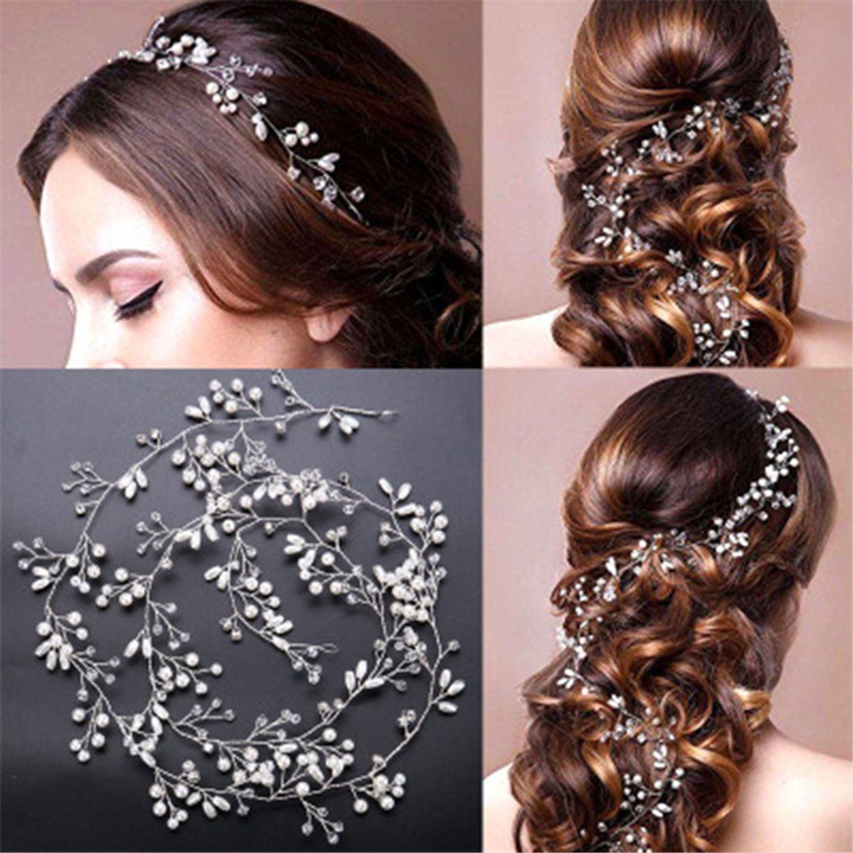 3.78 gbp - pearls wedding hair vine crystal bridal