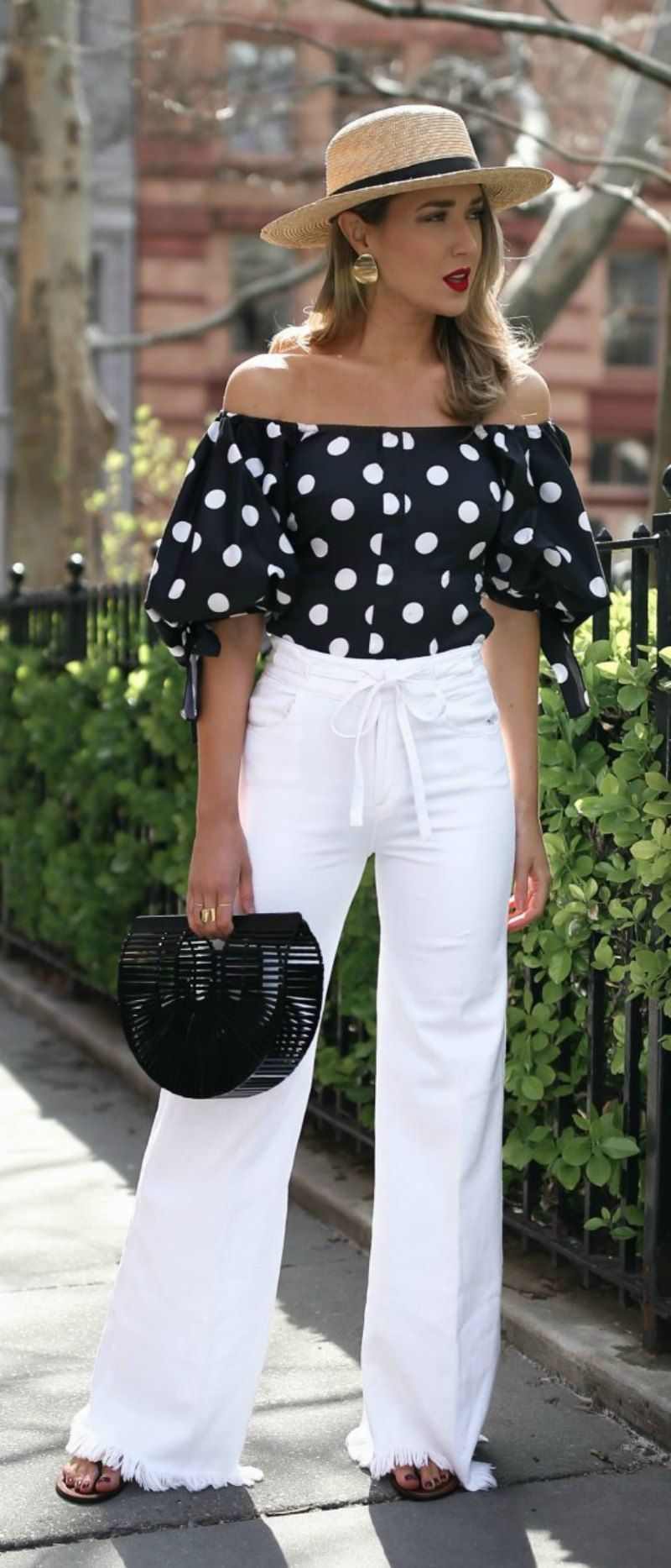 daf76d307e4 My favorite white denim for summer // Black and white polka dot off the  shoulder
