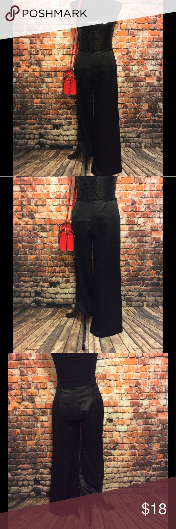 "Alex Evenings -Black dress pants -size6 Alex Evenings -Black 100% Polyester dress pants with side zippers -size6- approx 41"" length-approx 31"" inseam-approx 11.5"" each pant bottoms-approx 11"" thigh-approx 15"" waist -happy to answer questions-fast shipper Alex Evenings Pants Wide Leg"