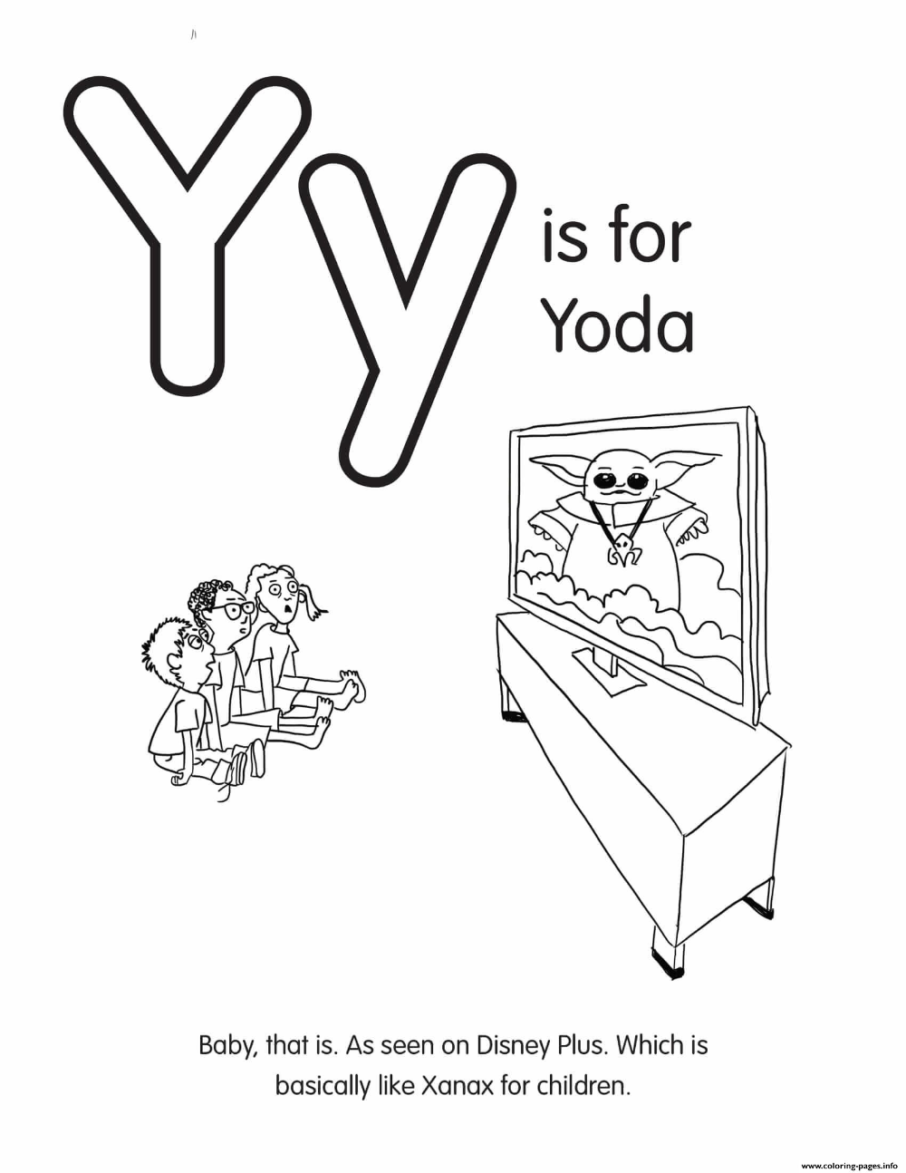 Print Y Is For Yoda Coloring Pages Coloring Pages Coloring Books Printable Coloring Pages