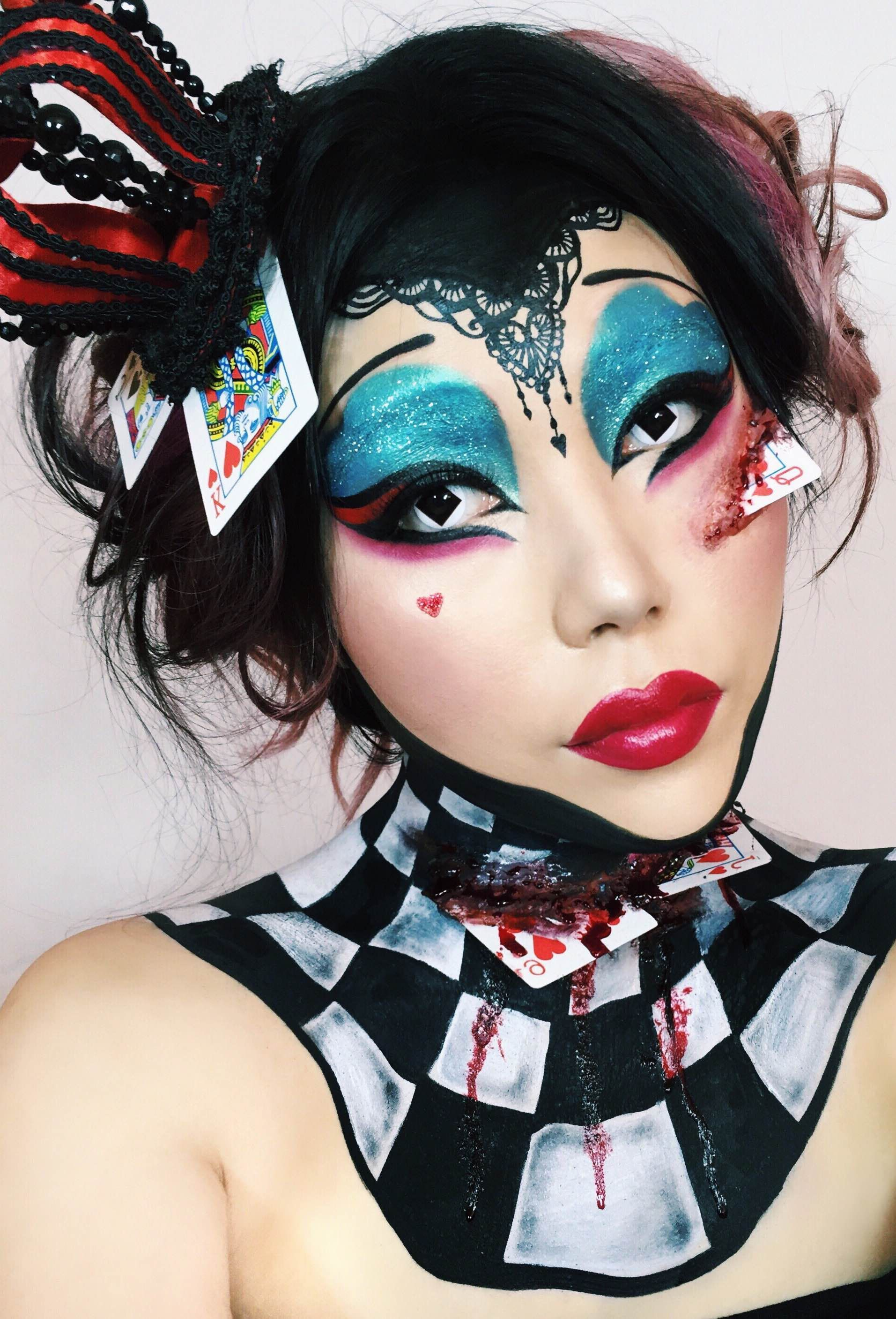 the queen of hearts from alice in wonderland. halloween makeup