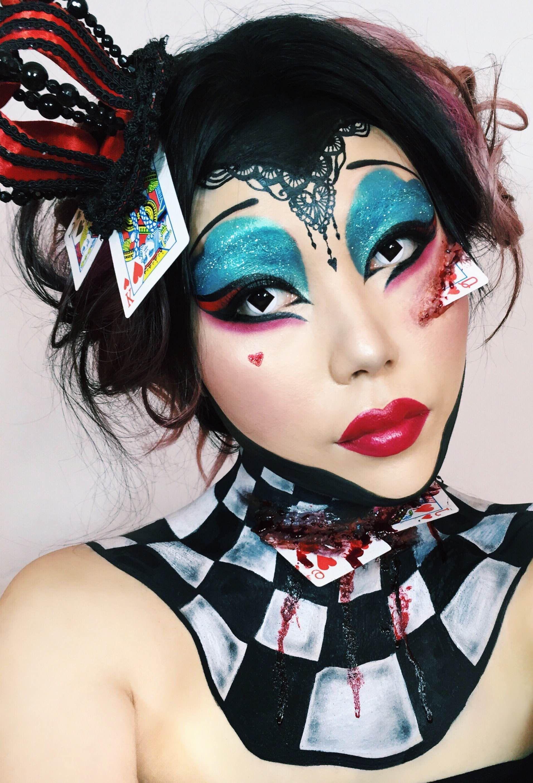 The Queen of Hearts from Alice in Wonderland. Halloween makeup ...