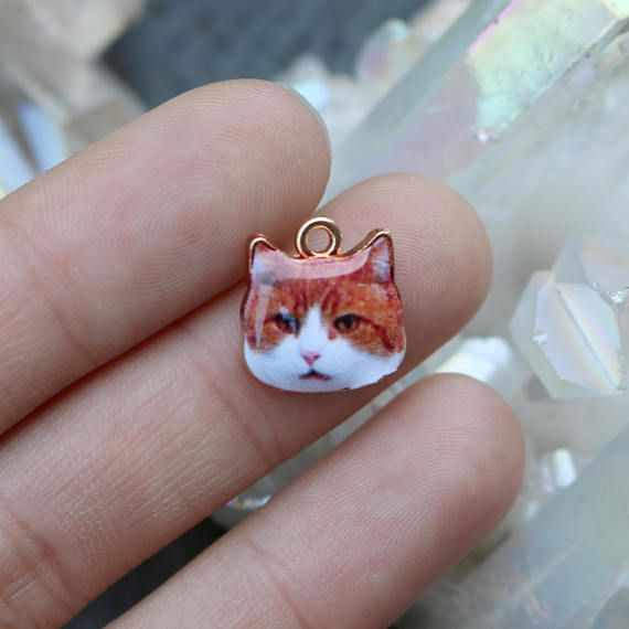 E350 4 Cat Charms Gold Plated Enamel Adorable and Realistic White Kitten