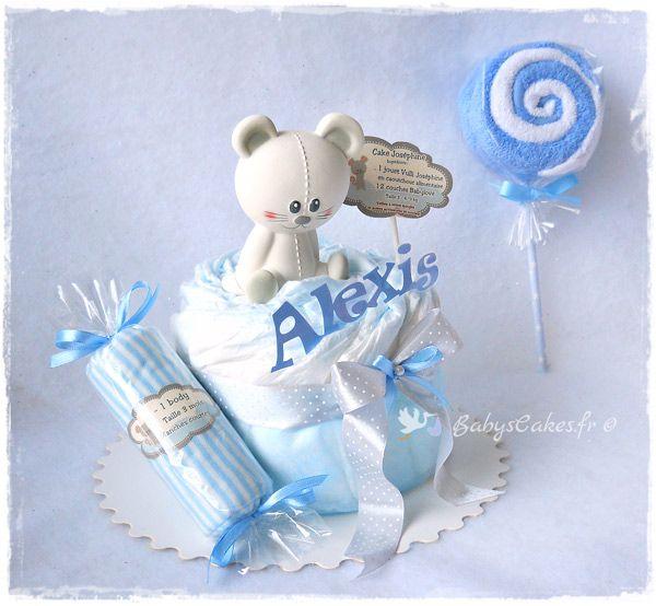 Mini gâteau de couches personnalisé et son jouet d'éveil Joséphine la souris - Vulli