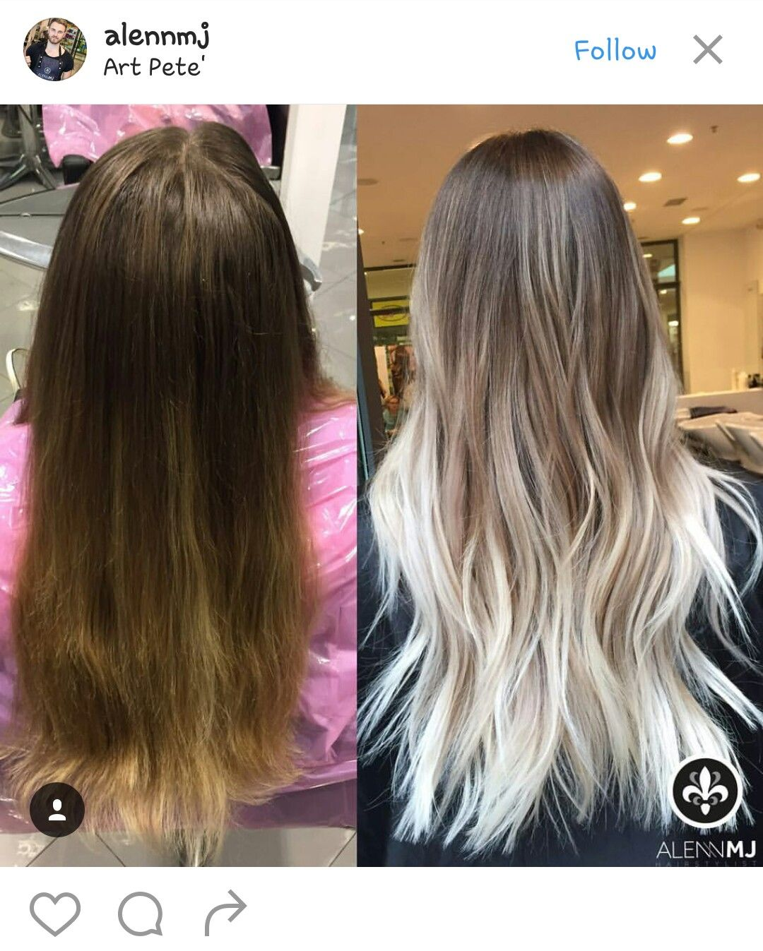 Brown to white ombre in 2019