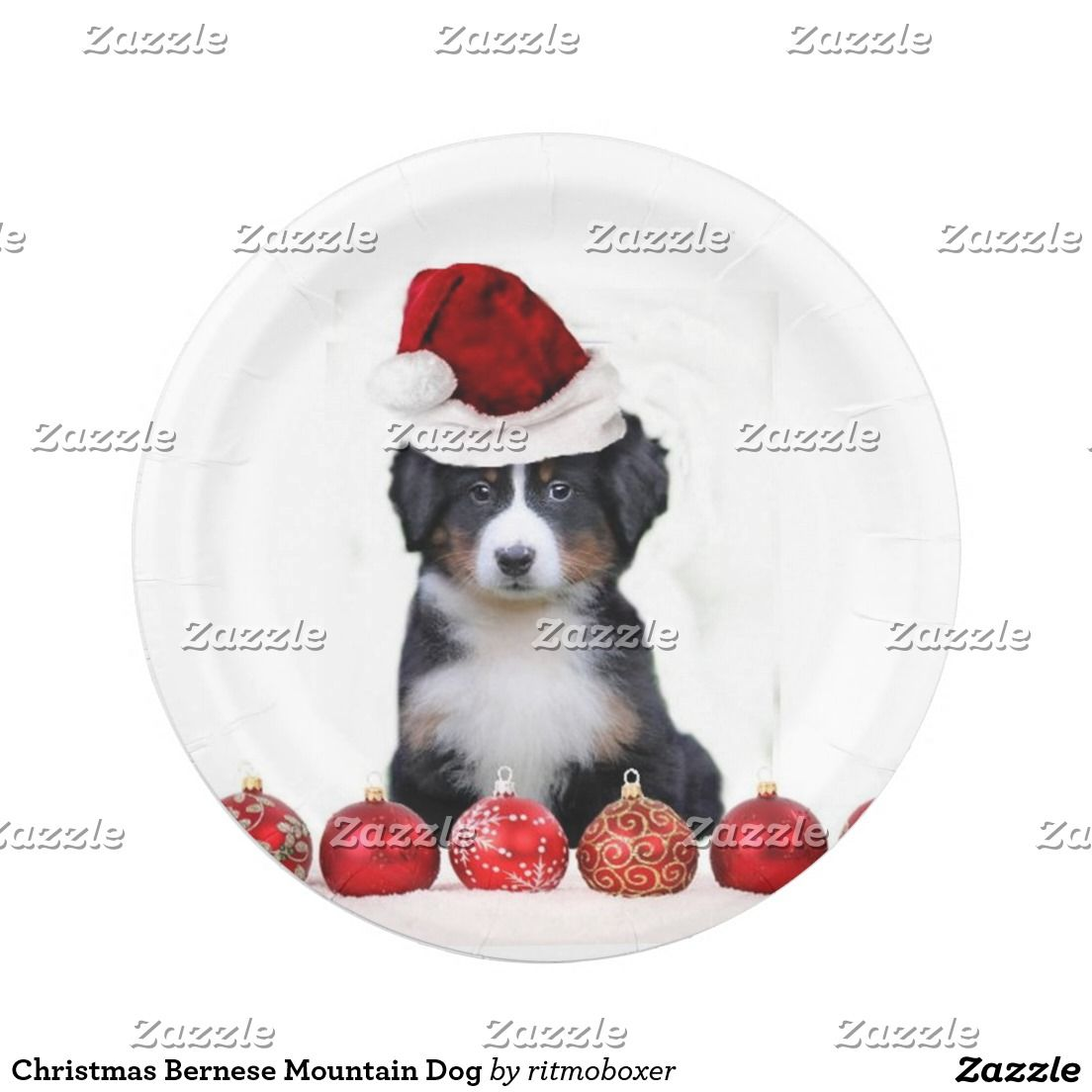 Christmas Bernese Mountain Dog Paper Plate  sc 1 st  Pinterest & Christmas Bernese Mountain Dog Paper Plate | Bernese mountain dogs ...