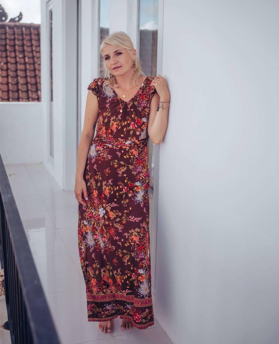 langes kleid ibiza style in 2020 | kleider, boho kleid lang