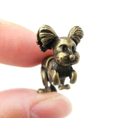 Fake Gauge Puppy Dog Shaped Stud Earrings in Brass | SALE from DOTOLY $7.99 #puppies #dogs #animals #jewelry #earrings