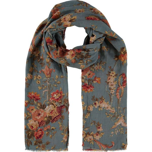Pin By Iffah Fathin On Style: Blue Floral Scarf (85 MYR) Liked On Polyvore Featuring