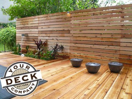Horizontal Cedar Slat Privacy Screen With A Built In Stainless