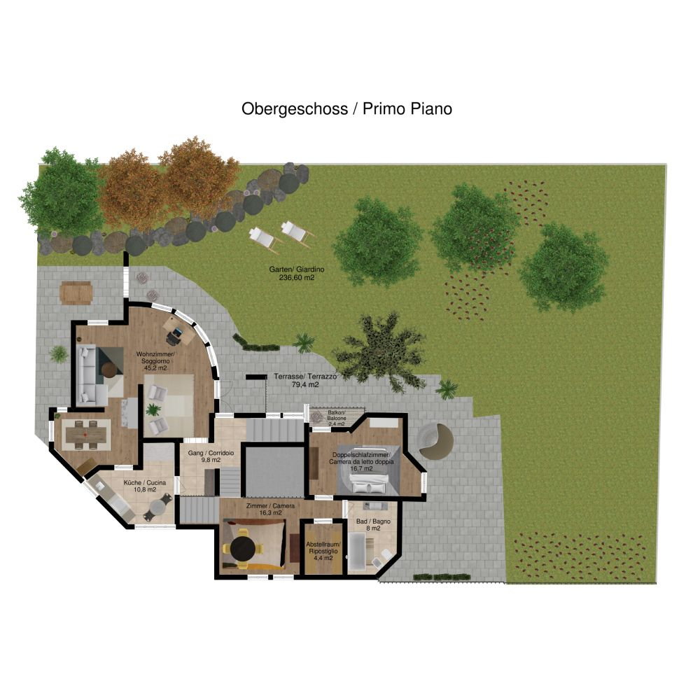 2d View Of A House Garden Layout Made On Floorplanner Com Create Floor Plan Floor Plans Interior Design Software