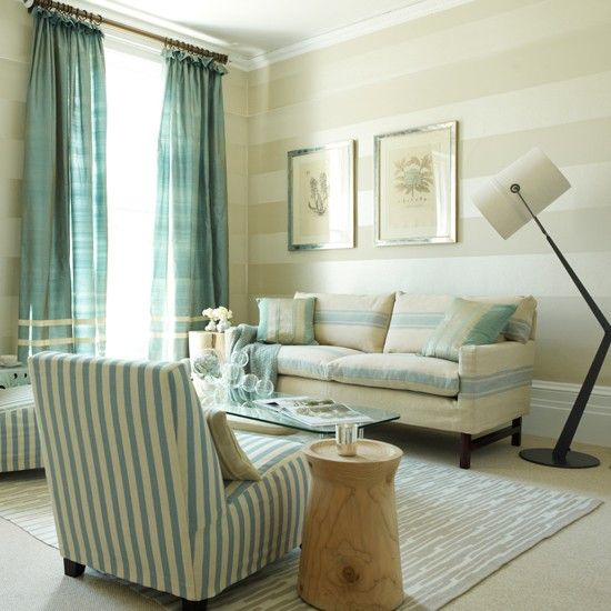 Living Room With Striped Wallpaper Make Small Rooms Look Bigger Horizontal Stripes Neutral