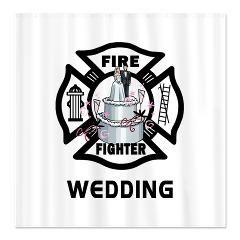 Firefighter Wedding Cake Shower Curtain Firefighter Wedding
