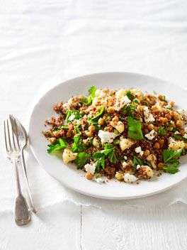 Warm Roast Cauliflower, Chickpea & Quinoa Salad