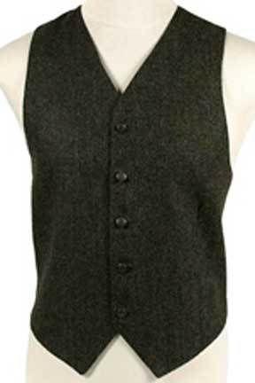 Brown & Olive Herringbone Mens Vest