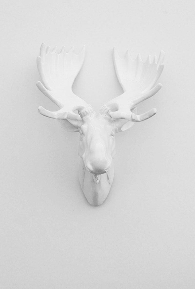 White Moose Head W Antlers The Royale Faux Taxidermy Chic Trendy 69 99 Via Etsy
