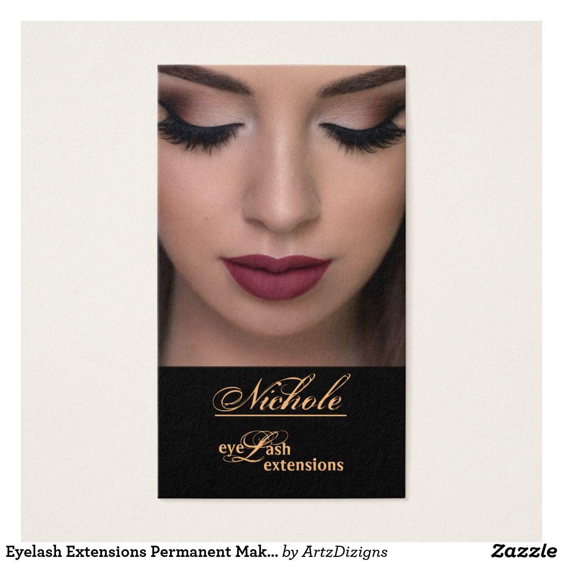 Eyelash Extensions Permanent Makeup Business Cards | Permanent makeup