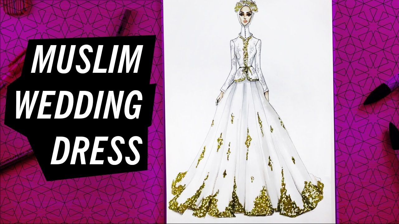 Wedding dress drawing  HOW TO DRAW A MUSLIM WEDDING DRESS   Fashion Drawing  MODA