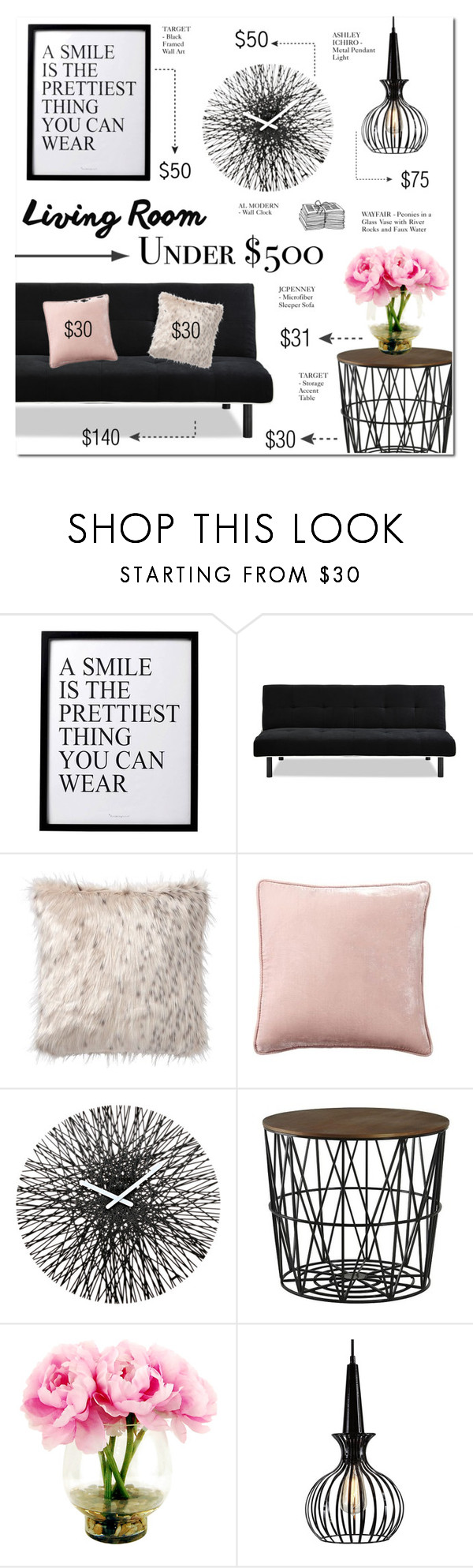 """LIVING ROOM FOR UNDER $500"" by larissa-takahassi ❤ liked on Polyvore featuring interior, interiors, interior design, home, home decor, interior decorating, 3R Studios, PBteen, Pottery Barn and WALL"